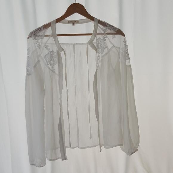 bleuh ciel Tops - Beautiful Sexy White Sheer Button Down Top